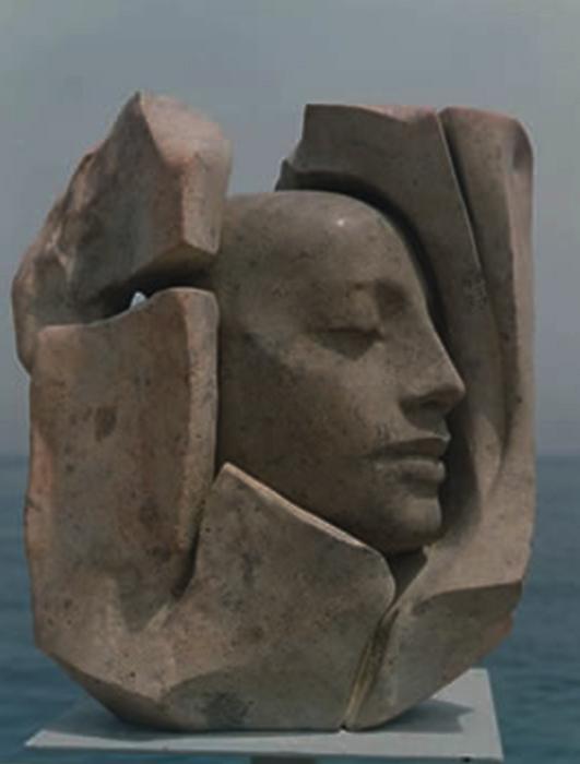 1998 - Pietra d'Ischia - Testa fra le Rocce - Heilbronn - Coll. Schwan - 57x45cm