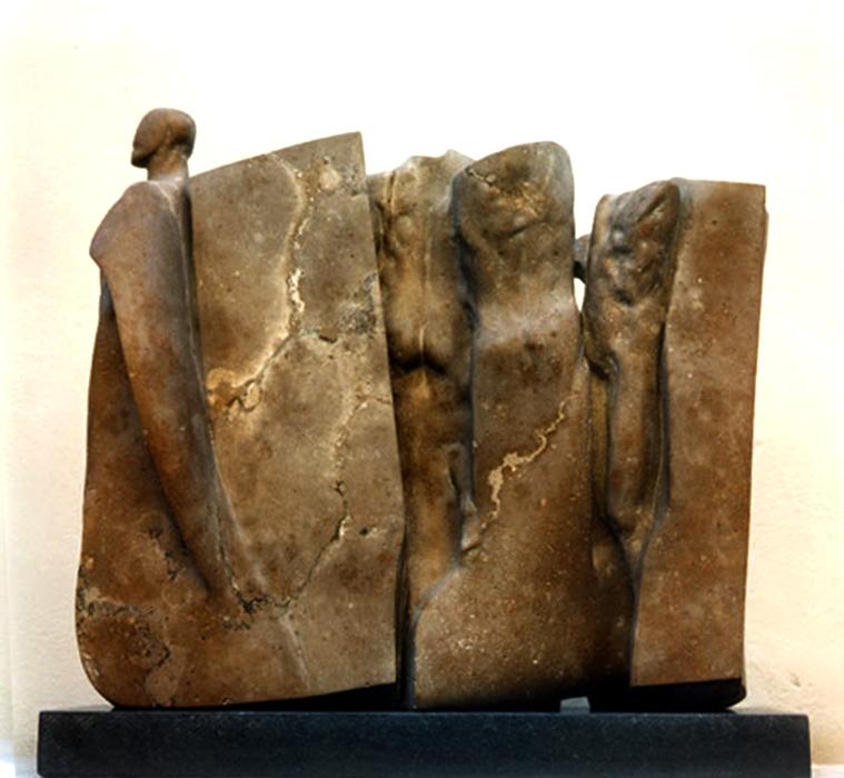 2000 - Travertino di Siena - Corpi tra le Rocce - Ischia - de Angelis - 54x60cm