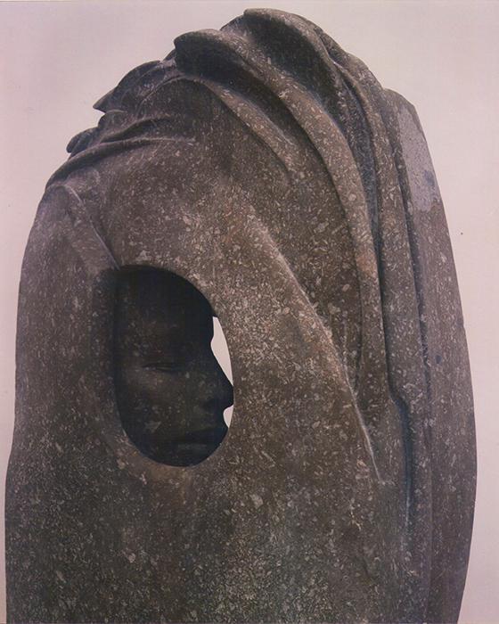 2004 - Pietra d'Ischia - Testa nella Roccia con Cespuglio - Irlanda - Coll. Schwan - 100x48cm