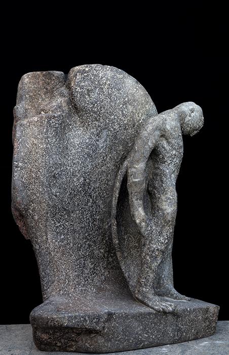 2013 - Pietra d'Ischia - Uomo al Muro - Ischia - Coll. de Angelis - 65x52cm