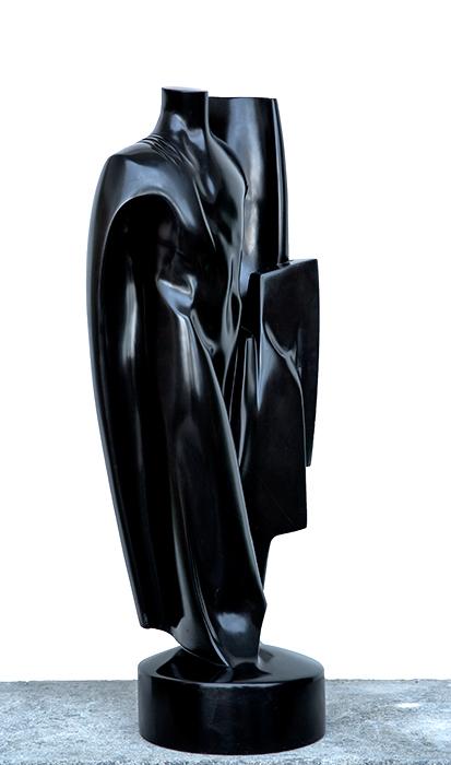 2016 - Marmo Nero del Belgio - Torso con Drappo - h.86cm